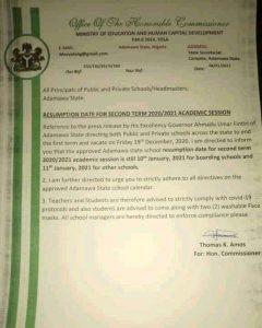 Adamawa state schools resumption date